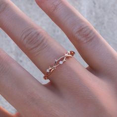 Rose Gold Four Stone Band - dainty rose gold ring / minimal ring / thin band ring / simple band / stacking ring / gifts for her / birthday - Best Picture For jewelry branding For Your Taste You are looking for something, and it is going t - Simple Jewelry, Cute Jewelry, Jewelry Rings, Jewelry Accessories, Jewelry Design, Jewlery, Simple Rings, Rose Gold Jewelry, Dainty Jewelry