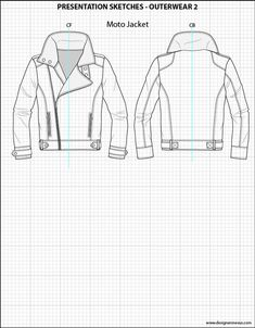 Mens Illustrator Flat Fashion Sketch Templates - Presentation Sketches Outerwear…