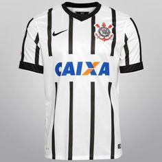 Camisa Nike Corinthians I 14/15 s/nº - Branco+Preto