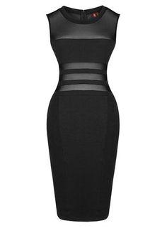 Amazon.com: Women's Sexy Mesh Sheer Sleeveless Celebrity Evening Pencil Dress: Clothing