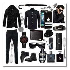 """""""Men In Black"""" by andrea2andare ❤ liked on Polyvore featuring Lacoste, Ralph Lauren, Chanel, Viktor & Rolf, Axe, DKNY, Givenchy, Belstaff, Alexander McQueen and men's fashion"""