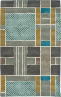 This hand tufted Rizzy rug was made in India from 100% Wool. This contemporary style area rug features a geometric pattern with blue, teal, grey and green colors.A sample of this item is on display in our Bee Cave,Texas Showroom. Please call or...
