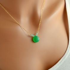 Kelly Green Necklace Chalcedony Gemstone Jewelry by livjewellery