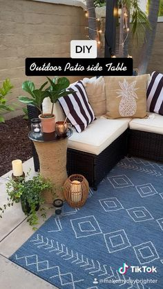 Outdoor Projects, Diy Projects, Diy Crafts For Home Decor, Dollar Tree Decor, Diy Décoration, Diy Patio, Patio Side Table, Diy Furniture, Spray Painted Baskets
