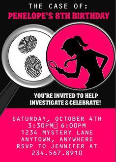 Girl Spy Party Invitation - EDITABLE