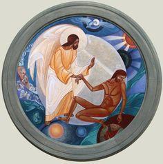 by Lyuba Yatskiv (Ukraine) ___Adam facing God Byzantine Icons, Byzantine Art, Religious Icons, Religious Art, Small Icons, Russian Icons, Jesus Art, Biblical Art, Catholic Art
