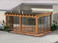 Outro modelo e área coberta com vidro e pérgola de madeira