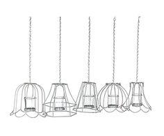 Set van 5 waxinelichthouders Metal Series I, wit, H 53 cm