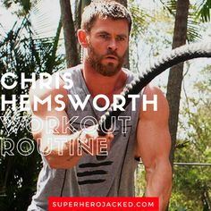 Chris Hemsworth Workout Routine and Diet [Updated]: Train Like Thor! Fitness Herausforderungen, Mens Fitness, Health Fitness, Fitness Hacks, Fitness Wear, Workout Schedule, Workout Challenge, Workout Routines, Chris Hemsworth Workout