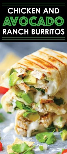 Chicken and Avocado Ranch Burritos - These come together with just 15 min prep! You can also make this ahead of time and bake right before serving. SO EASY! Chicken Avacado Burrito, Avacado Tacos, Avocado Chicken Recipes, Chicken Ranch Tacos, Chicken Avocado Wrap, Avocado Ranch, Chicken Burritos, Diner Recipes, Mexican Recipes