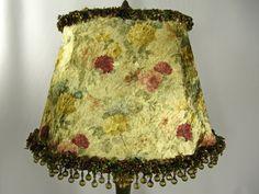Lamp Shade Fancy Oval Floral Velvet Custom Fringe by JudisLamps, $225.00