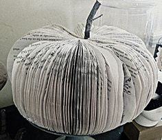 pumpkin made of books. I'm just not sure I could bring myself to destroy a book this way.