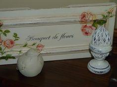 Frente de cajón convertido en cuadro, realizado con decoupage y estarcido
