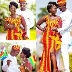 When two hearts collide neither time, distance, tribe or a nation can separate them ♥Only love shines through! Cheers to Ama 🇬🇭 + Mbuso 🇿🇦 on a beautiful Traditional Marriage Ceremony! Ghana Wedding Dress, African Wedding Dress, African Weddings, Nigerian Weddings, Ghana Traditional Wedding, African Traditional Wedding Dress, African Dresses Online, African Fashion Dresses, Couples African Outfits