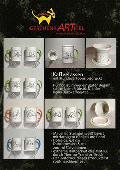Kaffee-/Teetassen mit Cartoons (Hunde, Katzen...) bedruckt, es gibt auch ein passendes Teesieb sowie einen Deckel dazu.