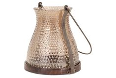 "11"" Corbis Glass Lantern, Brown"