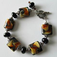 Handmade Beaded Jewelry And Lampwork Jewelry Designs - Pacificjewelrydesigns.com - Mocha Valencia beaded lampwork bracelet