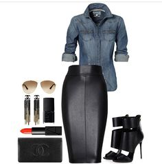 Love ❤️ #deminandLeather Business Fashion, Business Outfit, Chic Outfits, Classy Outfits, Skirt Outfits, Fashion Outfits, Denim Pencil Skirt Outfit, Jean Pencil Skirt, Black Jeans Outfit