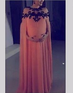 2016 Kaftan Arabic Style Maternity Evening Dresses For Pregnant With Cape