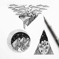The mountains are calling by @menis_art #designspiration #illustration #art #creative #design #adventure - View this Instagram https://www.instagram.com/Designspiration/