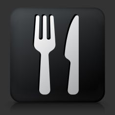 Black Square Button with Food Utensils Icon vector art illustration