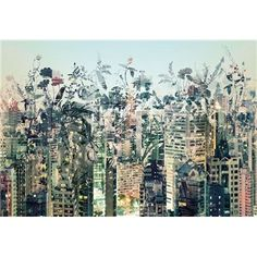 This colorful modern city skyline wall mural isn't your typical cityscape; The Urban Jungle wall mural is just one of many artistic wall mural options you'll find at Ethan Allen. Embossed Wallpaper, Of Wallpaper, Wallpaper Patterns, Modern Wall Decor, Contemporary Decor, Oasis Floral, Poster Xxl, Poster Mural, Impressionism