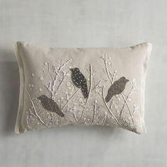 Beaded Silver Birds Pillow | Pier 1 Imports
