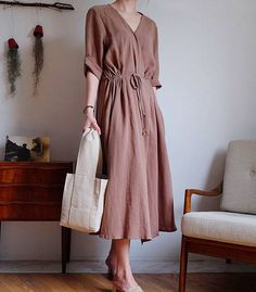 2Colors Linen cotton wrap dress  Wrap Linen Dress-Natural