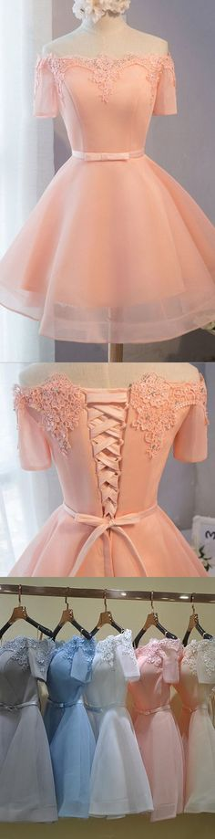 A-line/Princess Party Homecoming Dresses Short Pink Dresses With Lace Up Bandage Mini Comfortable Party Dresses M3294