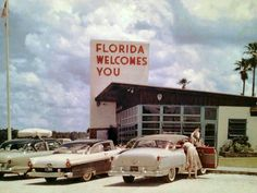 Retro Florida welcome center; we went to Florida every winter to visit grandma & would stop here & have a cup of OJ