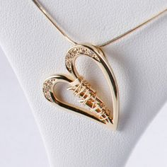perfect necklace to honor my open heart surgery / 14k Yellow Gold with Diamonds unbrokenheart pendant and 14k Yellow Gold Mending