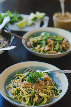 Chicken Satay Skillet With Zucchini Noodles {Gluten-Free + Paleo Option}