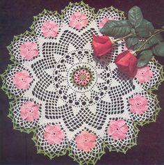 1950's Wild Rose Doily Vintage Crochet Pattern