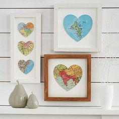 bespoke map heart print from not on the high street. diy: print map of where you & hubby met, got engaged, & got married. cut in heart shape then frame. single heart map of where you now call home.