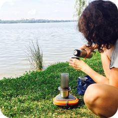 Make a Kapucziner coffee offroad with AeroPress!
