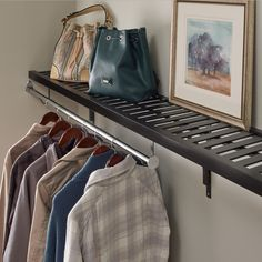 Who says you need a closet for entryway storage? Just add shelving! Coat Storage, Entryway Storage, Wood Shelves, Shelving, Mudroom, Home Organization, Shoe Rack, Maid, Closet