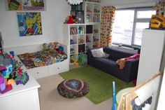 boys super hero marvel dc bedroom.... with Orla Kiely BRANDED window treatments? Yep, like everything but that part.