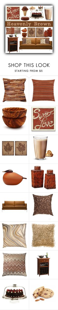 """""""Heavenly Brown"""" by stephlo-1 ❤ liked on Polyvore featuring interior, interiors, interior design, home, home decor, interior decorating, Sur La Table, Uttermost, Rosendahl and iittala"""