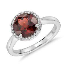 Garnet and Diamond Petite Round Halo Ring in 14k White Gold