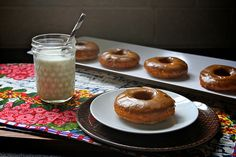 My kids loved these!  They are baked, not fried, and most of the sweetener is mashed banana.  Banana donut recipe