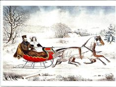 Currier Ives Print - Winter Print - Vintage Lithograph Postcard - Sleigh Ride - Snowy Sleigh Ride - Americana - Otto Knirsch - 1850s