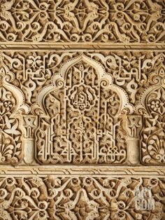 Palacio De Los Leones Sculpture, Nasrid Palaces, Alhambra, UNESCO World Heritage Site, Granada, And Stretched Canvas Print by Godong at Art.com