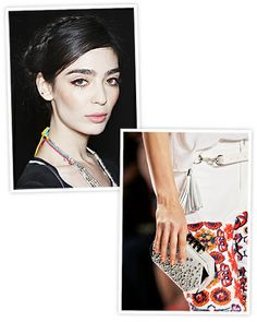 """REBECCA MINKOFF: Taking inspiration from Latin American beauties like Frida Kahlo and Bianca Jagger, Minkoff's look embodied the feeling of a wide-eyed wanderer with boho-chic braids. """"I think a lot of girls like to wear their hair like this in the summer,"""" said lead hairstylist Jeanie Syfu, who used TRESemme products. """"The disheveled texture is what makes the look modern. For the makeup, Stila artist Sarah Lucero emphasized the eyes, opting for bold brows, and an ombre eye."""
