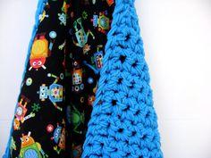 $77 Crocheted Baby Blanket in Riveting Robots - Reversible - Great for December Boys - Topaz - September - Sapphire Baby