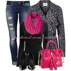 """Black & Pink Print"" by casuality on Polyvore"
