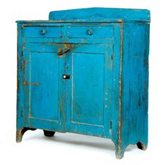 "PAINTED CUPBOARD.  Ohio, mid 19th century, poplar with other woods. Cutout feet, single board ends, paneled doors, two dovetailed drawers & a crested backboard. Retains an old, dry blue paint. Backboards are marked ""Thos. Long, Vanlue, Ohio"" & ""Mariah Long"" crossed out. 42""h. 42""w. 18""d.  Estimate $ 3K-5K. ~♥~"