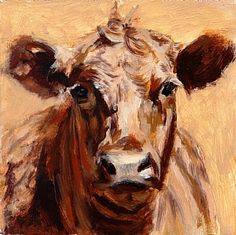 Red Angus Study by denise rich Oil ~ 6 x 6