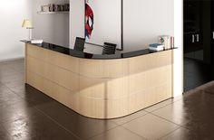 comp. GT03 - #bancone #reception angolare realizzabile su misura con top di cortesia (mensola lato cliente) in vetro laccato nero.