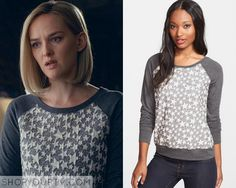 Robyn Burdine (Jess Weixler) wears this grey baseball style sweater with a star print in the front in this week's episode of The Good Wife. It is the Olivia Moon Textured Sweatshirt. Buy it HERE