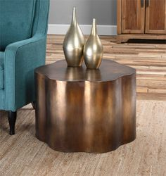 Uttermost Sameya Oxidized Copper Accent Table is part of Uttermost Sameya Oxidized Copper Accent Table - Smooth, oxidized copper finish Dimensions 26 W X 18 H X 24 D Materials MDF Rustic Living Room Furniture, Accent Furniture, Copper Living Room Decor, Furniture Redo, Copper Accents, Wood Accents, Drum Table, Dining Table, Wood